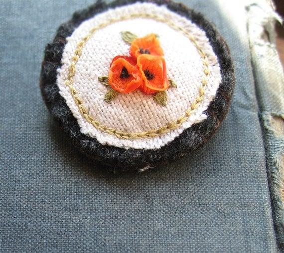 Orange Poppies Brooch