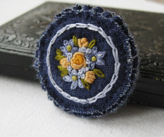 Blue Brooch with Yellow Roses