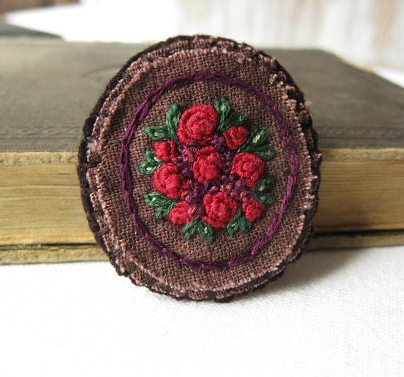Red Rose Fabric Brooch