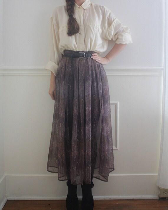 vintage sheer chiffon maxi skirt