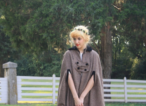 The Mirna Cape in Tweed and Velvet
