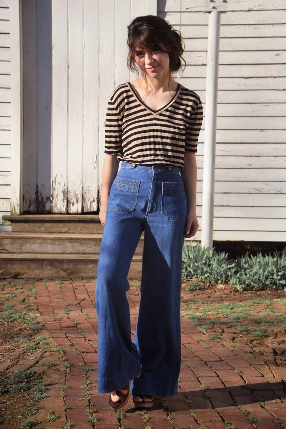 1970s high waisted wide leg denim jeans