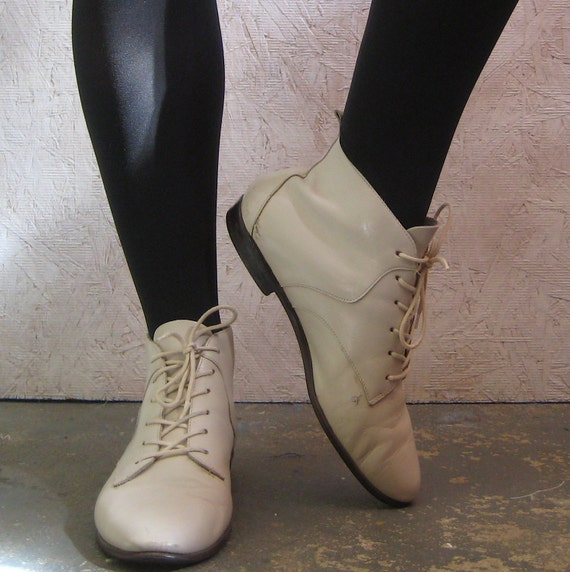 vintage ivory lace up ankle boots by laurenwinterco