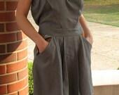 Gray Strapless Dress with Pockets -- Medium-Large
