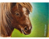 ACEO Oil Painting -Pony Contemplating Pranks- Free Shipping