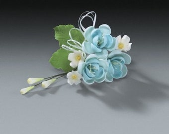 2 Sets of Pear Blue Gum Paste Flower Sprays for Weddings and Cake Decorating