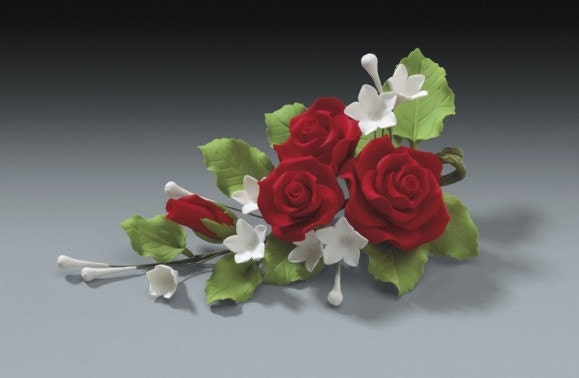 Cake Decorating Sugarpaste Flowers : 2 Sets of Red Rose Gum Paste Flower Sprays for Weddings and