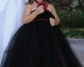 Black and Burgundy Wine Empire Tutu Dress, Flower Girl Dress, Classic, Tulle Dress