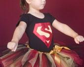 Super Girl Tutu in Red and Black, Halloween Costume, Superhero, Glitter Tutu