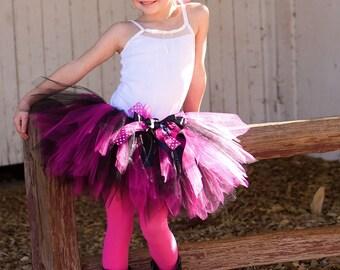 Fuchsia and Black Pixie Tutu, Halloween Costume, Fairy, Boutique Tutu, Birthday Tutu