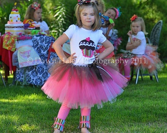 Hostess with the Mostest Cupcake Tutu in Hot Pink & Chocolate, Birthday Party, Tea Party, Birthday Girl