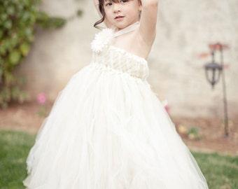Ivory and Gold Woven Flower Girl Dress, Empire Tutu Dress, As seen on Wedding Chicks, Gold Glitter, Classic, Wedding, Vintage