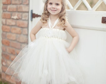 As seen on Wedding Chicks, Empire Tutu Dress, The Charlotte Flower Girl Dress, Ivory Tutu Dress, Tulle Dress, Classic Flower Girl