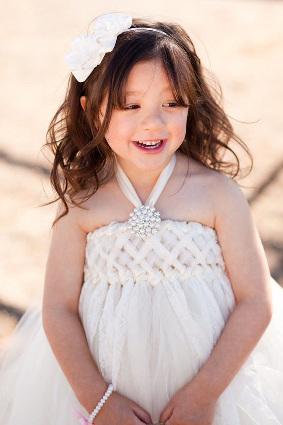 RESERVED LISTING FOR amyprochaska, Sweet Sophistication Flower Girl Dress, Shown in Ivory, Size Small