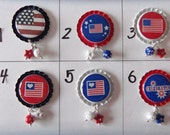 TOP Only**July 4th Interchangeable Badge Reel Tops  *PICK ONE*