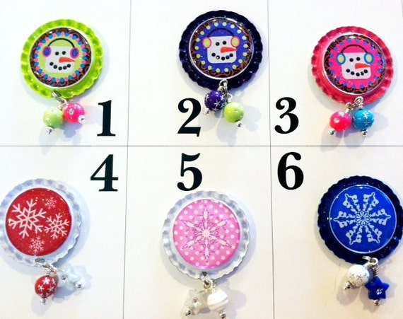 TOP Only**Snowflakes and Snowmen Interchangeable Badge Reel Tops  *PICK ONE*
