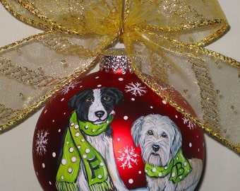 Custom 2 Dog Christmas Ornament - Let it Snow Design - 2 dogs
