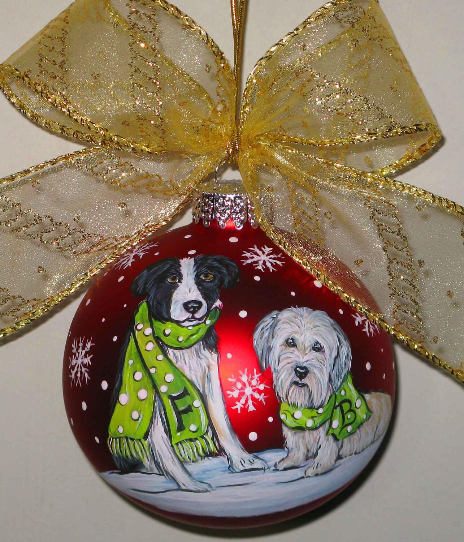Custom dog christmas ornament let it snow design dogs