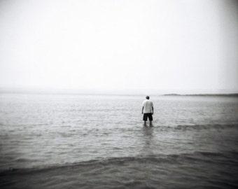 ocean photo, black white ocean landscape, minimalist photo, decor, holga, nature photo, landscape, ocean, dreamy, surreal, vintage style