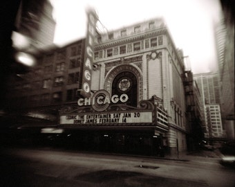 Chicago photo, theatre, downtown chicago photo, modern art, magnificent mile, black and white, decor, holga, city photo, urban, sepia, road