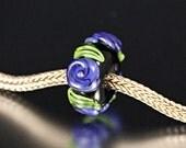 Fits Pandora / Handmade Lampwork Bead  / Purple Roses / L126 / SRA