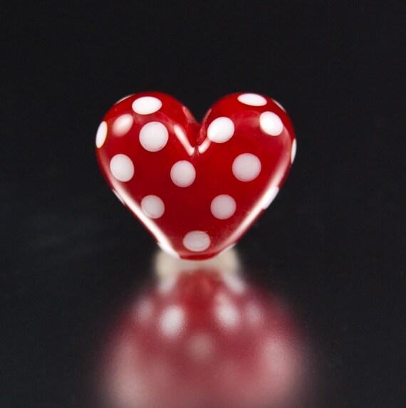 Lampwork Bead / Red Polka Dot Heart / SRA