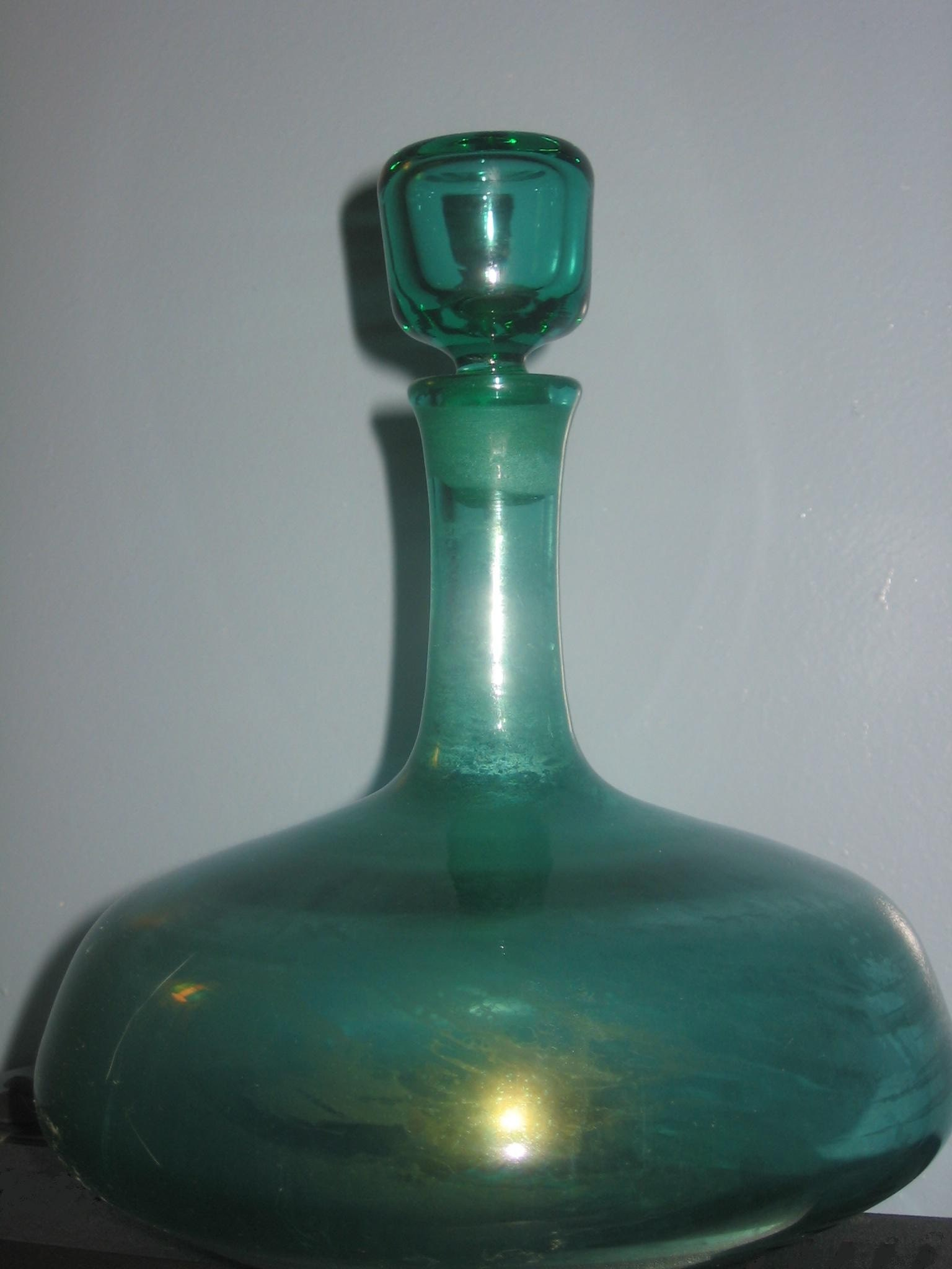 Vintage Blenko Glass Mid Century Ship Decanter In Sea Green
