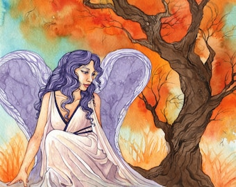 """Mystic Watercolor Angel Painting """"Angel By Pond"""" ARCHIVAL ART PRINT 8x10"""