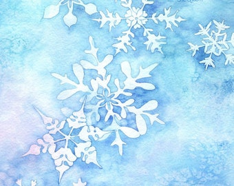 """Whimsical Winter Watercolor Painting """"Snowflakes"""" ARCHIVAL ART PRINT"""