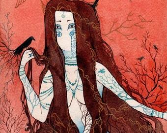 "Mystic Spiritual Watercolor Goddess ""Red Clay, Blue Bird"" ARCHIVAL ART PRINT 8x10"