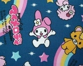 Cute Japanese Cotton Fabric-My Melody And Kuromi Chan Half Yard (F68)