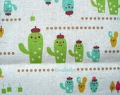 Cute Japanese Cotton Fabric - Decole - Decolello - Smiling Cactus (F39)