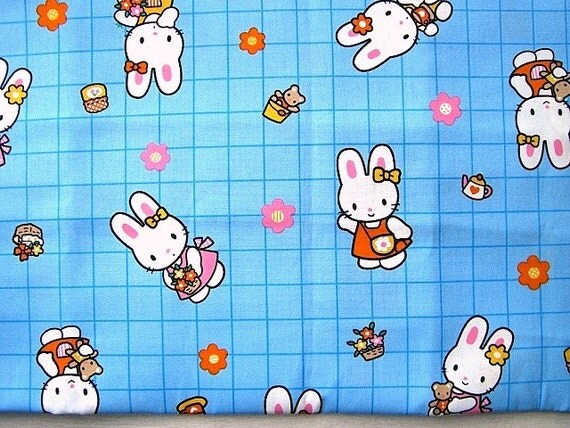 Cute Japanese Cotton Fabric-Cute Rabbit And Flowers About 1 Yard (F188)
