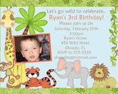 Zoo, Jungle Or Safari Theme Boy Or Girl Photo Card Invitation