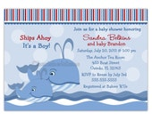 Custom Whale Baby Shower Or Birthday Party Invitation (You Print)