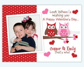 Owl Valentine Photo Greeting Card Boy or Girl Choose Pattern  (You Print)