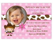 Pink And Brown Lil' Cowgirl Birthday Photo Card Invitation (You Print)