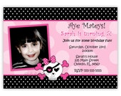 Pink Skull With Polka Dots or Zebra Print Birthday Party Invitation (Digital File)