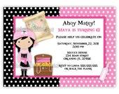 Pink Pirate Girl Birthday Invitation (Digital File)