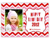 Cute Valentine Pink And Red Chevron Photo Card (Digital File)