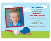 Cute Baseball Birthday Invitation with Picture or Without (Digital File)