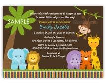 Jungle Safari Wild Animals Baby Shower Invitation (You Print)