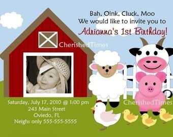 Barnyard /Farm  Birthday or Baby shower Invitation Girl or Boy (Digital File)