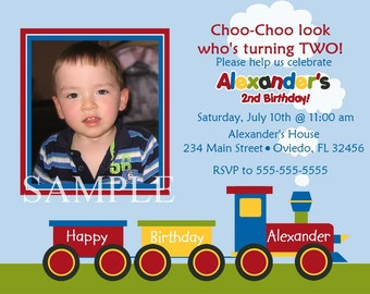 Choo-Choo Train Birthday Photo Card Invitation (You Print)