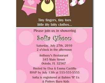 Sweet Clothesline Boy Or Girl Baby Shower Invitation (Digital File)