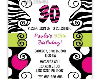 Chic Zebra Print With Leopard, Giraffe Or Dots Birthday Invitation Any Age (You Print)