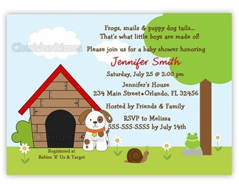Frogs, Snails And Puppy Dog Tails Baby Shower Or Birthday Invitation (Digital File)