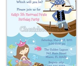 Vertical Mermaid And Pirate Birthday Invitation (You Print)