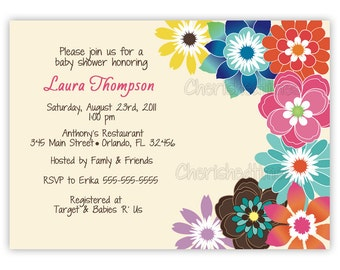 Summer Flowers Bridal, Baby Shower or Birthday Invitation (You Print)