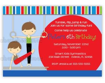 Little Gymnast Boy birthday Invitation (You Print)